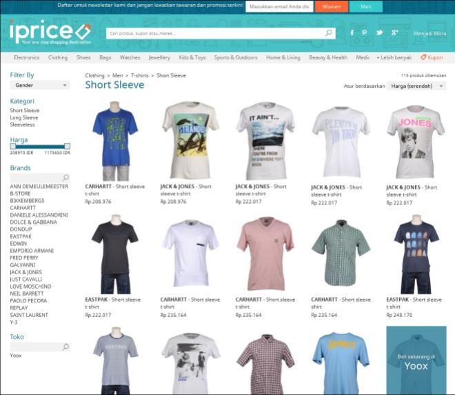 Banyak perbandingan antar brand dan saat diklik, langsung menuju ke link pembelian produk tersebut. So simple!