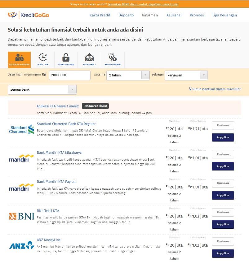 Masukkan nominal pinjaman dan lama cicilan yang diperlukan di kolom yang disediakan. Klik untuk memperbesar gambar.